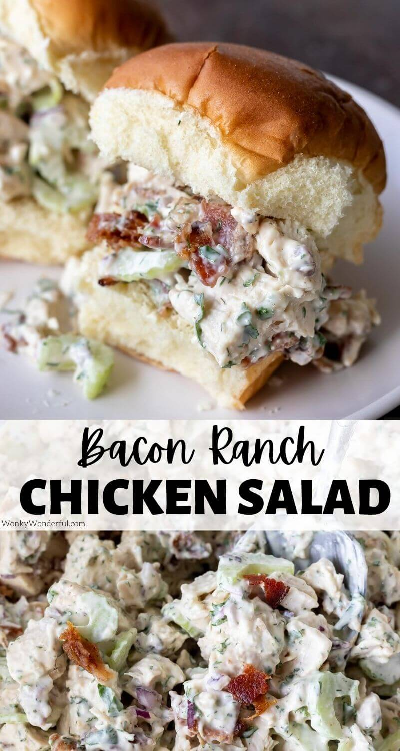bacon ranch chicken salad pinnable image with title text