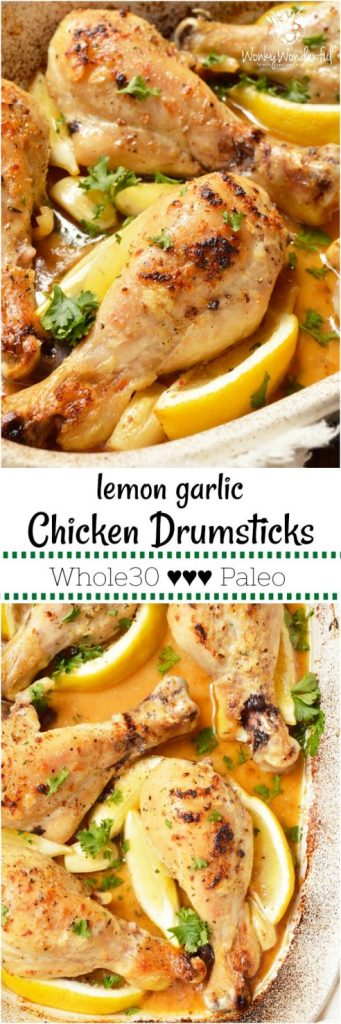 Another example of healthy food NOT being bland and boring, thisLemon Garlic Chicken Drumstick Recipe is loaded with flavor! Juicy chicken drumsticks are oven baked and slathered in a buttery lemon garlic sauce. This Whole30 - Paleo compliant recipe will please the entire family! #whole30recipes #paleorecipes #whole30 #paleo #lemongarlic #chickendrumsticks