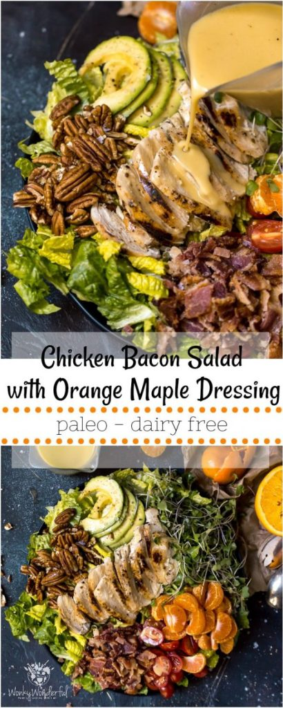 long collage photo for pinterest of maple salad dressing and chicken bacon salad