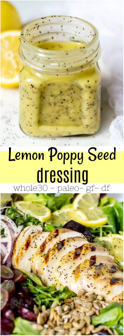 labeled collage image for pinterest of lemon poppy seed dressing and grilled chicken salad
