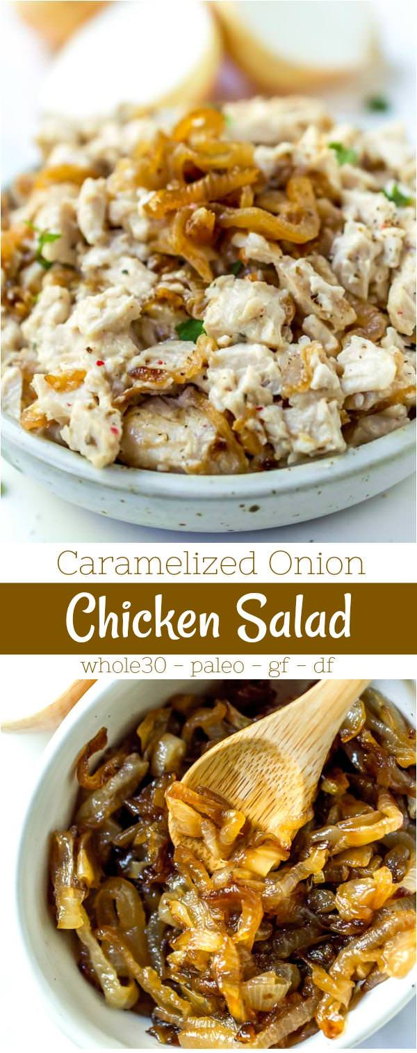 long collage photo of caramelized onion paleo chicken salad