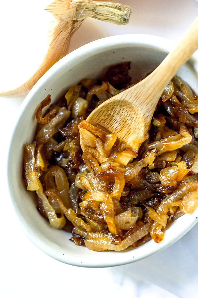 close up of golden brown caramelized onions