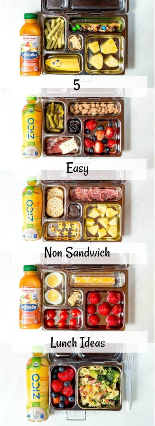 compilation of photos of 5 easy lunch ideas