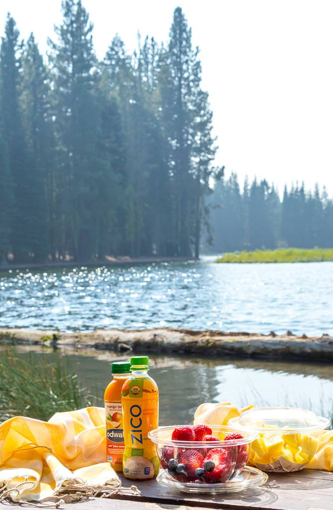 a lakeside picnic with zico odwalla and fresh cut fruit