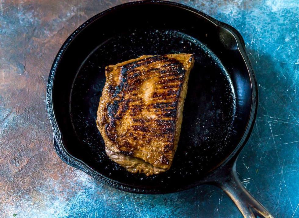 whole flank steak in cast iron pan