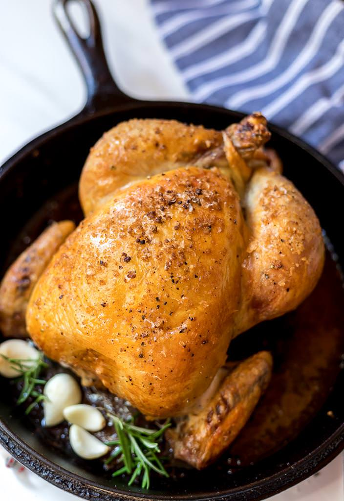 whole roast chicken with golden brown skin