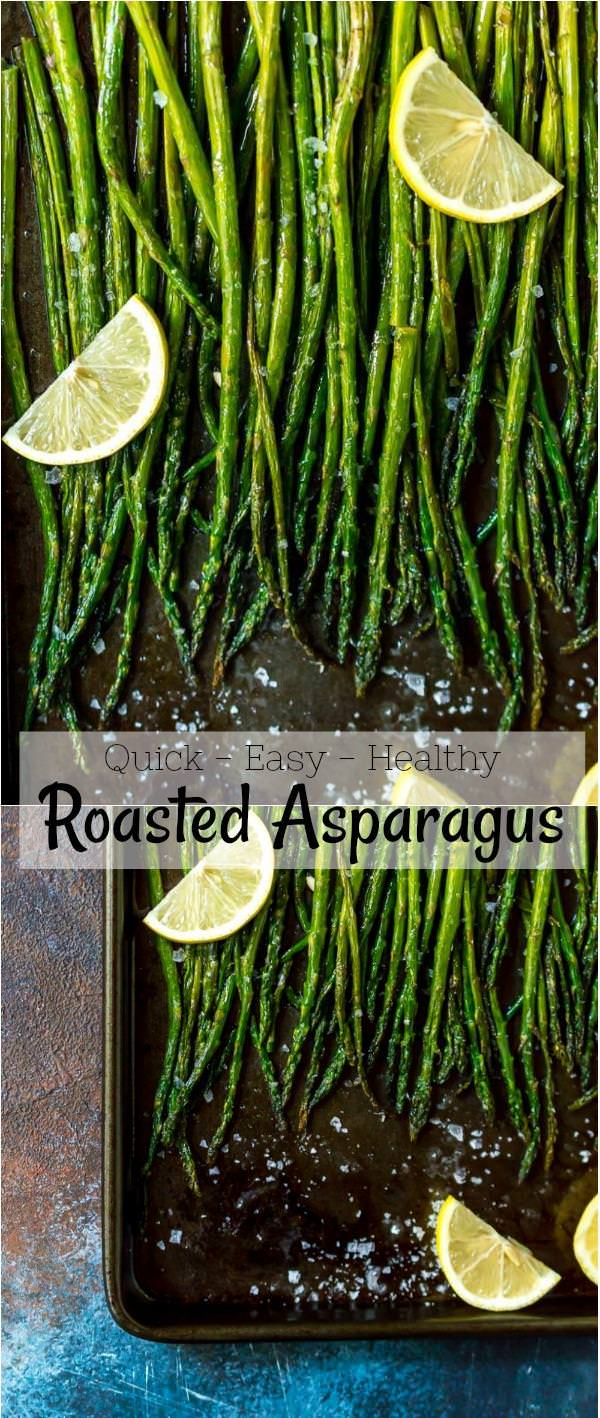 collage photos of oven roasted asparagus recipe