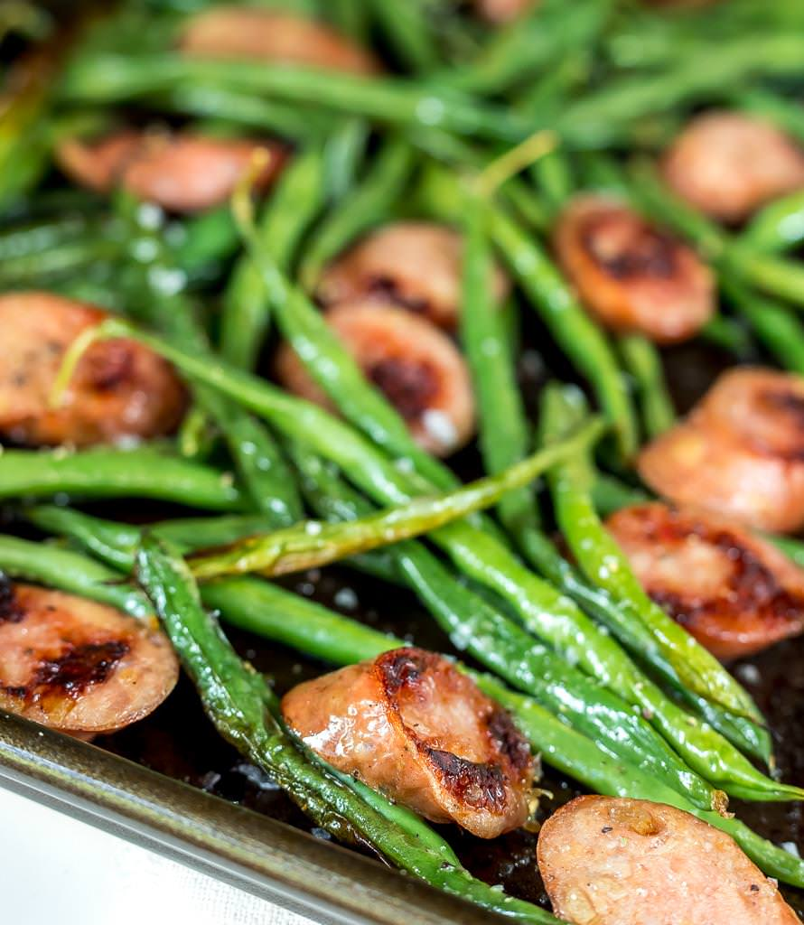 perfectly browned sausage and green beans