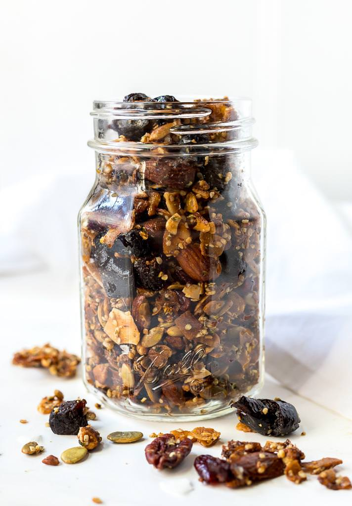 paleo granola in glass jar