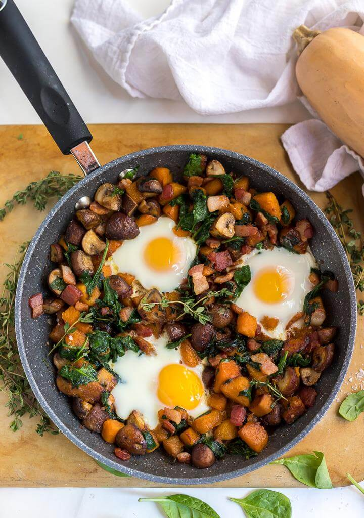 Whole 30 Breakfast Hash and eggs in frying pan
