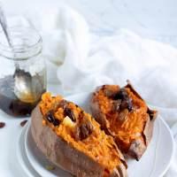 Roasted Sweet Potatoes with Spiced Honey Raisins