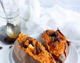 Roasted Sweet Potatoes with Honey Raisins