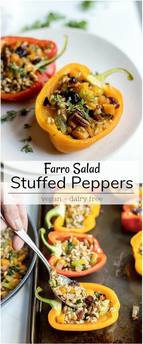 farro salad stuffed peppers recipe photo collage