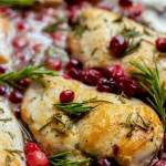 lightly browned rosemary chicken topped with cranberries