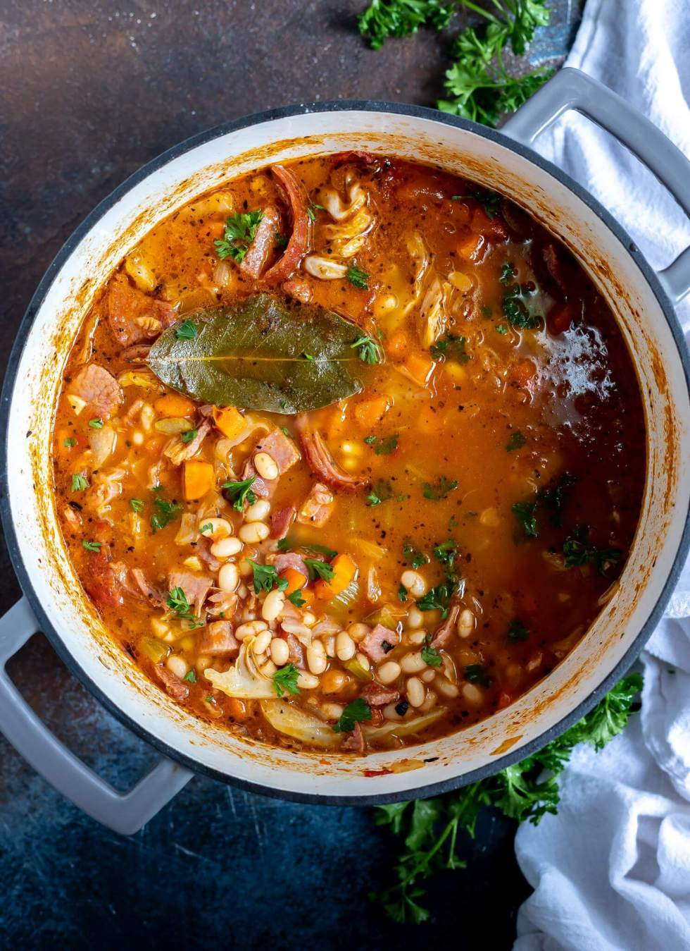 ham and bean soup in large pot