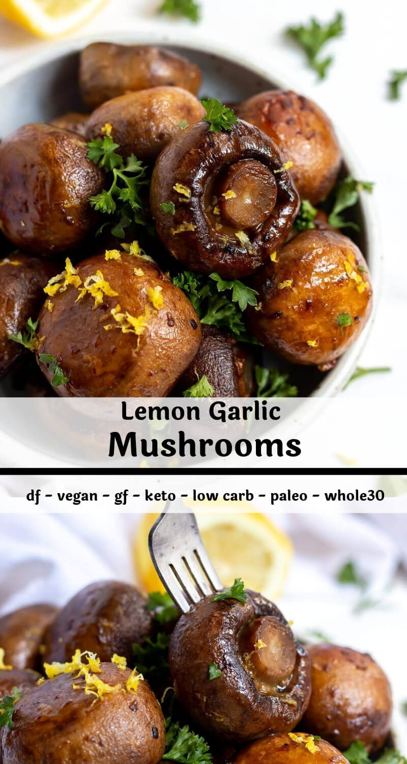 roasted lemon garlic mushrooms recipe photo collage
