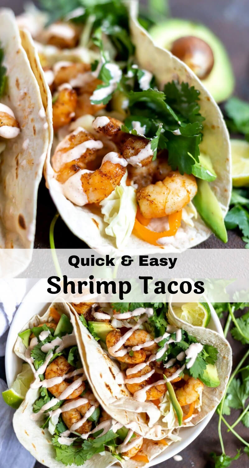 easy shrimp tacos photo collage