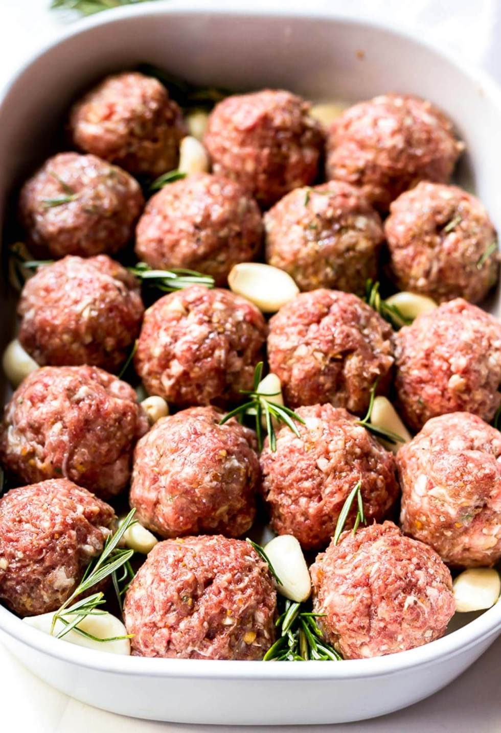 prepared whole 30 meatballs before being baked