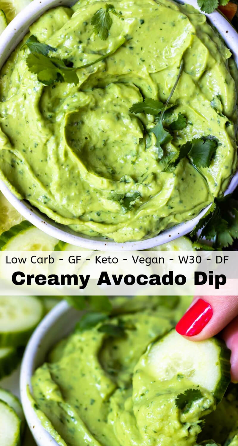 creamy avocado dip recipe photo collage