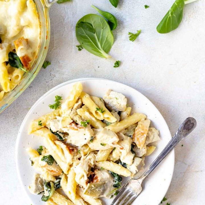 Spinach Artichoke Chicken Alfredo Baked Ziti Recipe