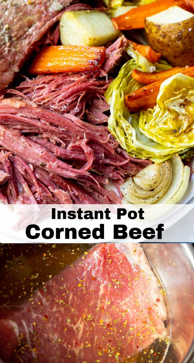 instant pot pressure cooker corned beef recipe photo collage