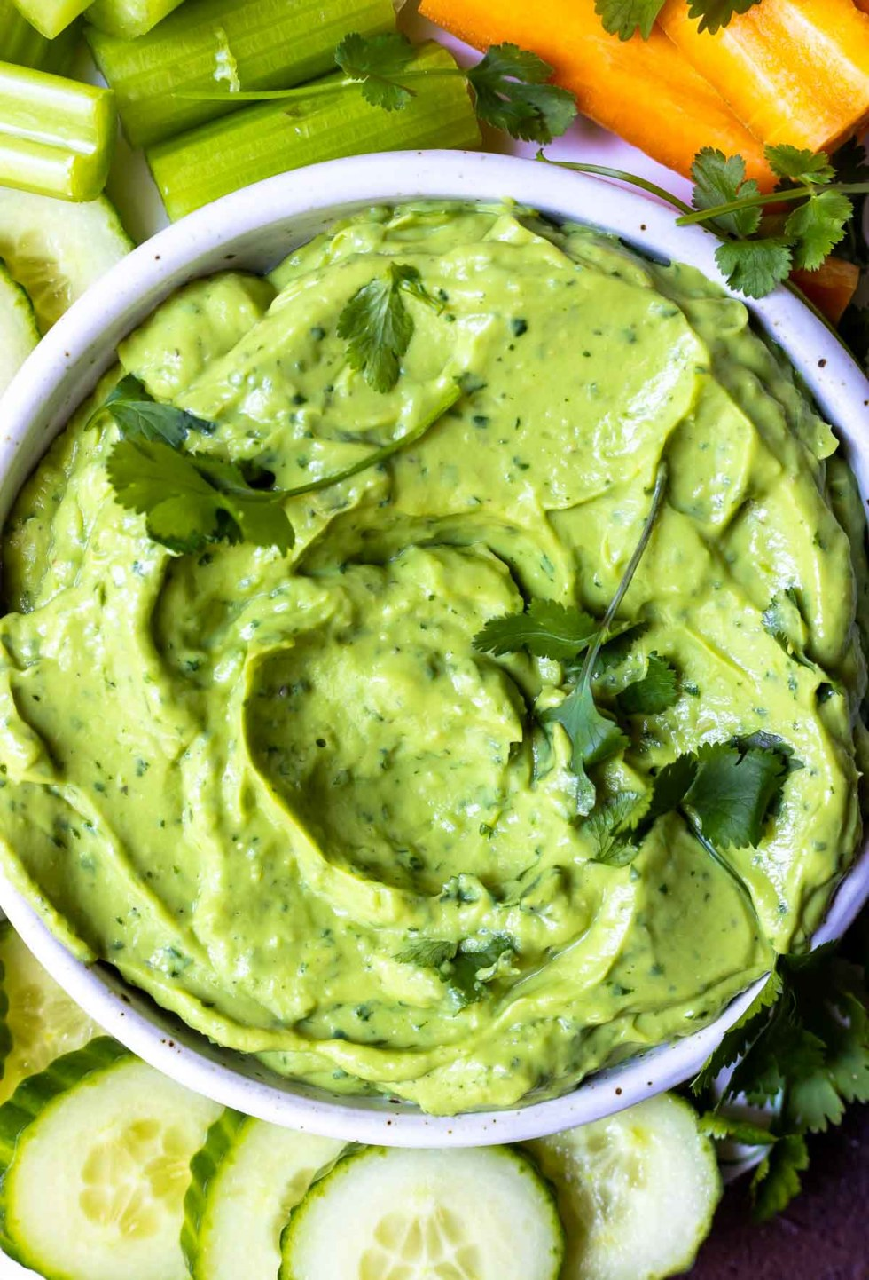 bright green and creamy avocado dip recipe topped with fresh cilantro