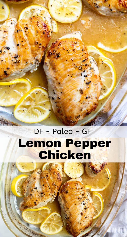 baked lemon pepper chicken recipe photo collage