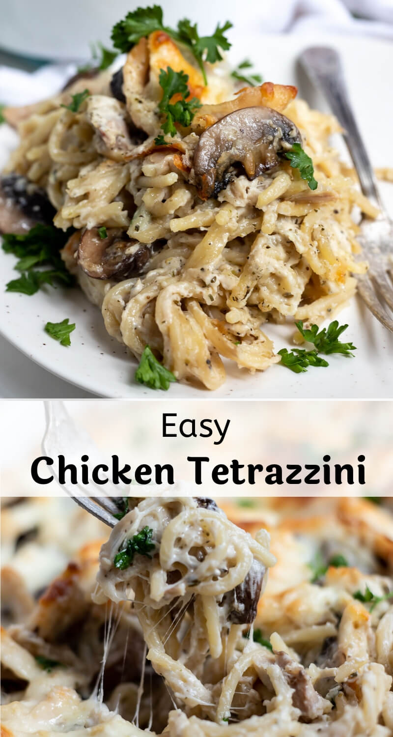 easy chicken tetrazzini recipe photo collage