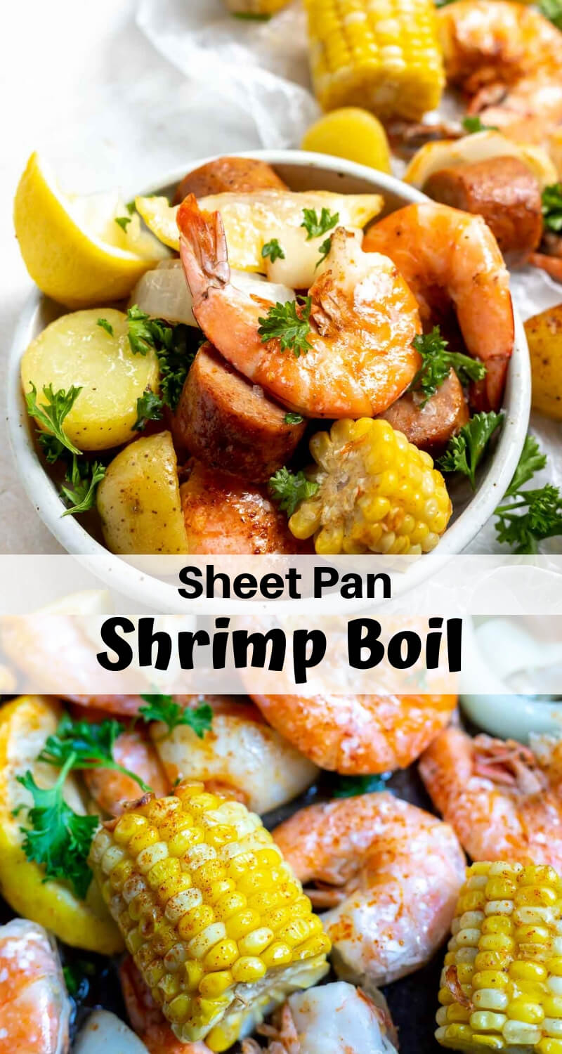 sheet pan shrimp boil recipe photo collage