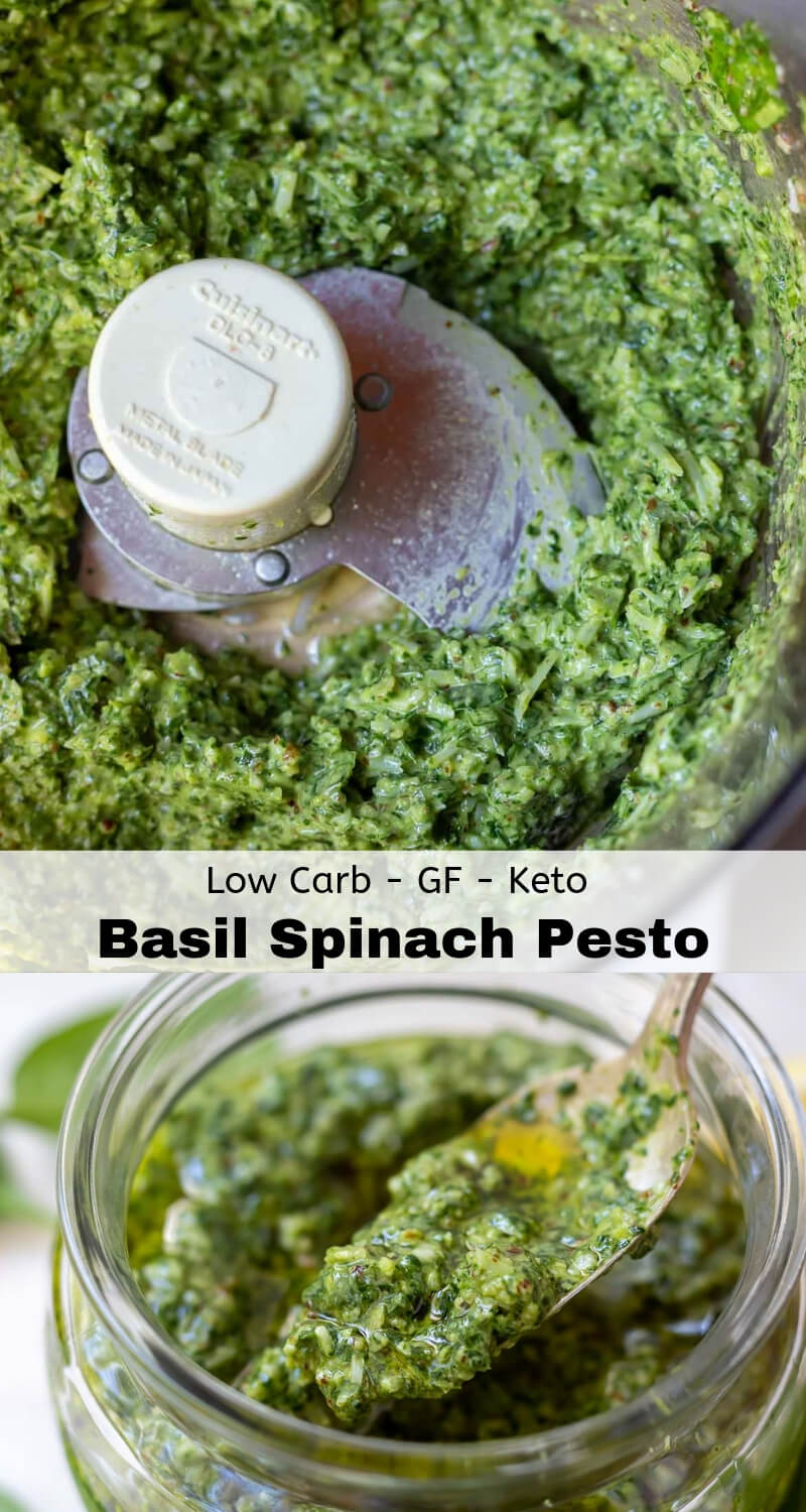 basil spinach pesto recipe photo collage