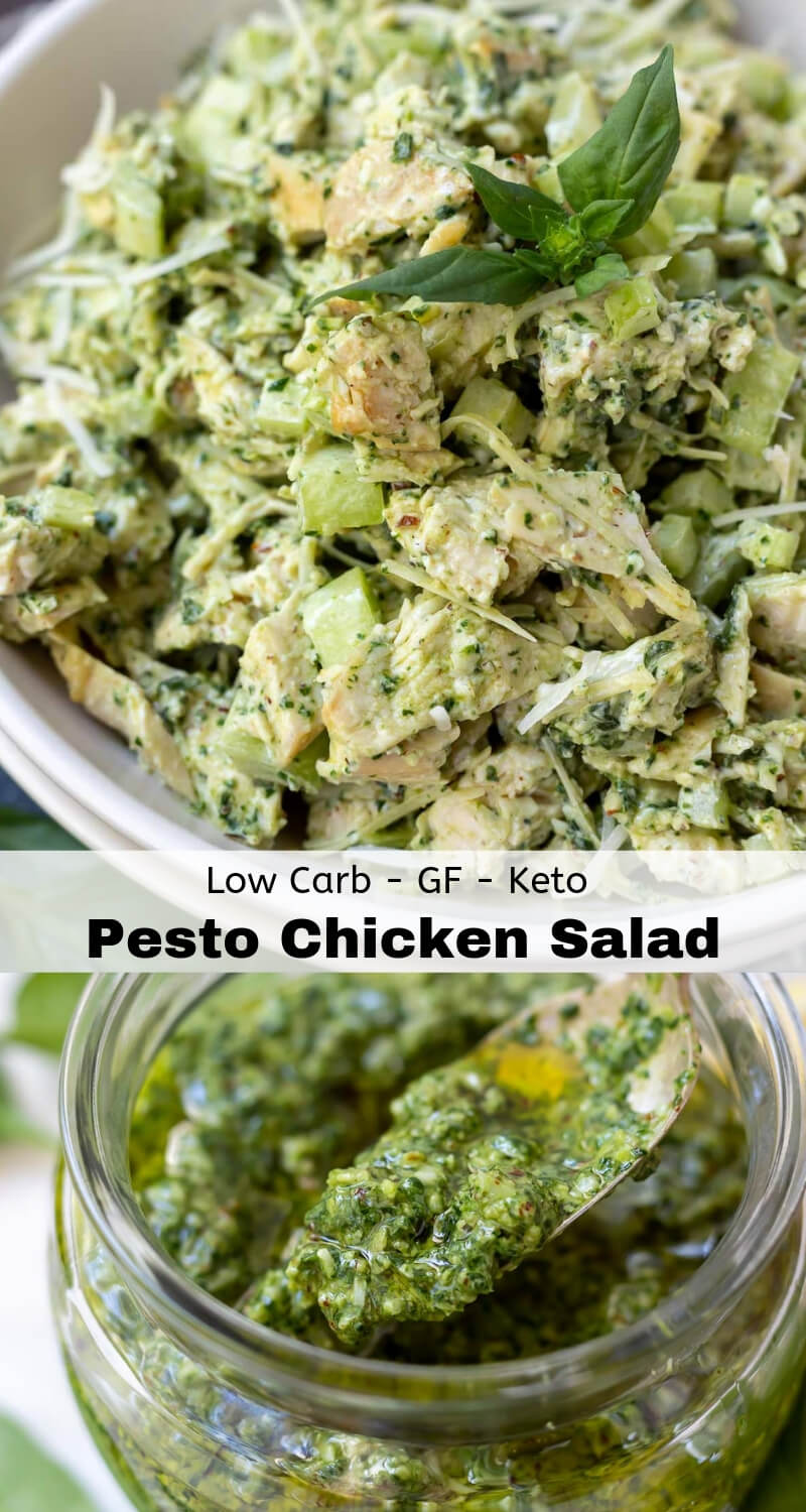 pesto chicken salad recipe photo collage