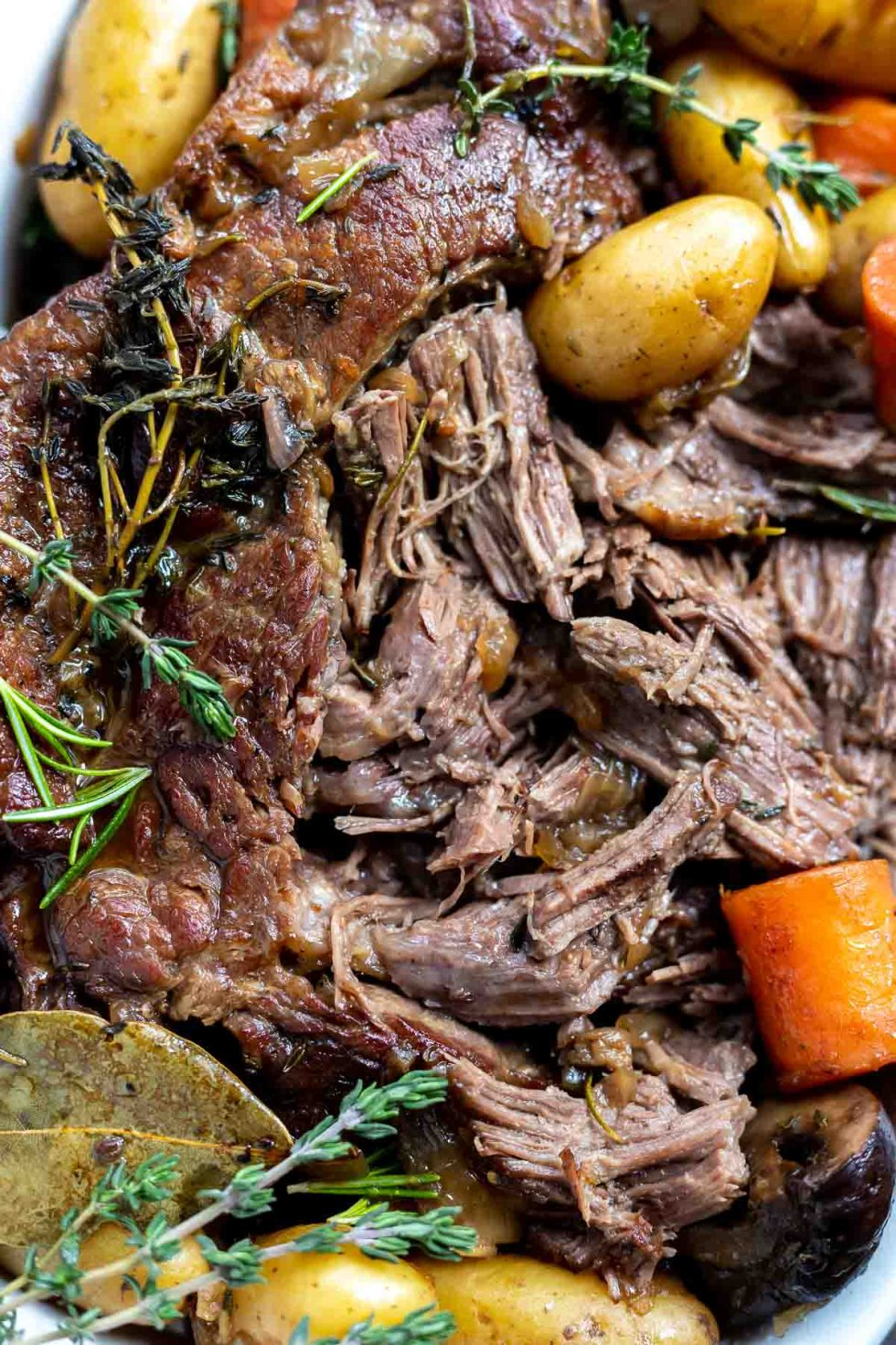 shredded pot roast with herbs and vegetables