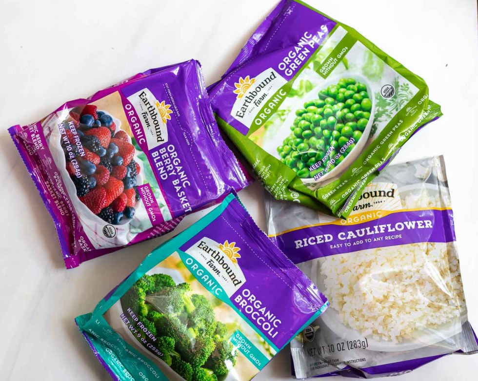 variety of frozen fruit and vegetable packages
