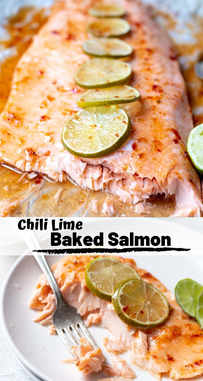 chili lime salmon recipe photo collage