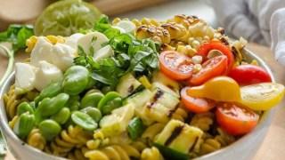Grilled Vegetable Summer Succotash Pasta Salad {Recipe Video}