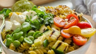 Grilled Vegetable Summer Succotash Pasta Salad {Recipe Video}