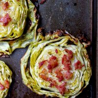 Roasted Cabbage Steaks with Bacon