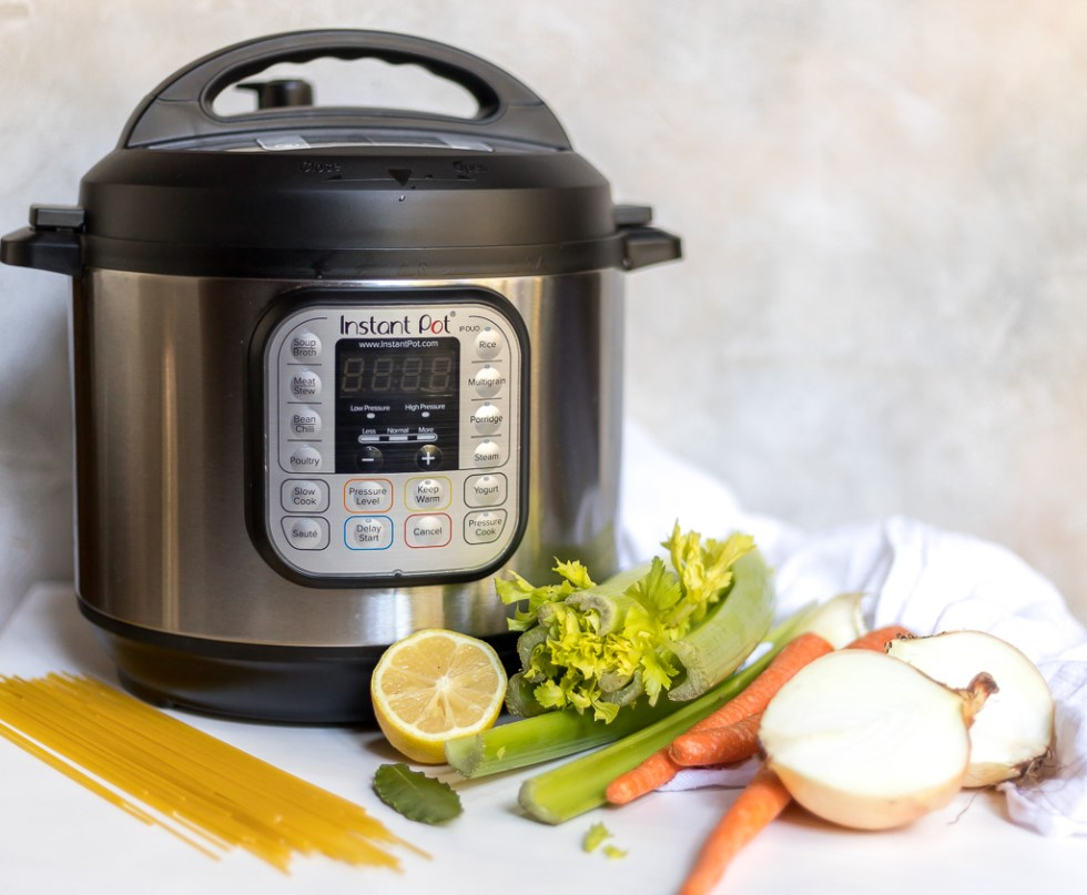 instant pot next to chicken soup ingredients