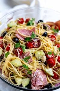 Italian spaghetti pasta salad in glass bowl