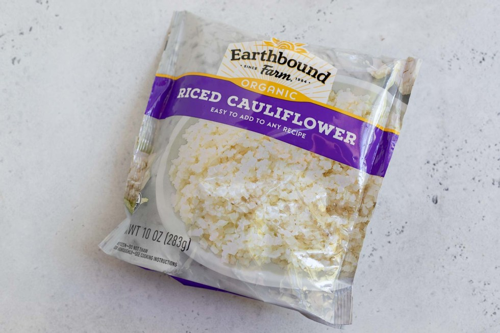 package of frozen riced cauliflower