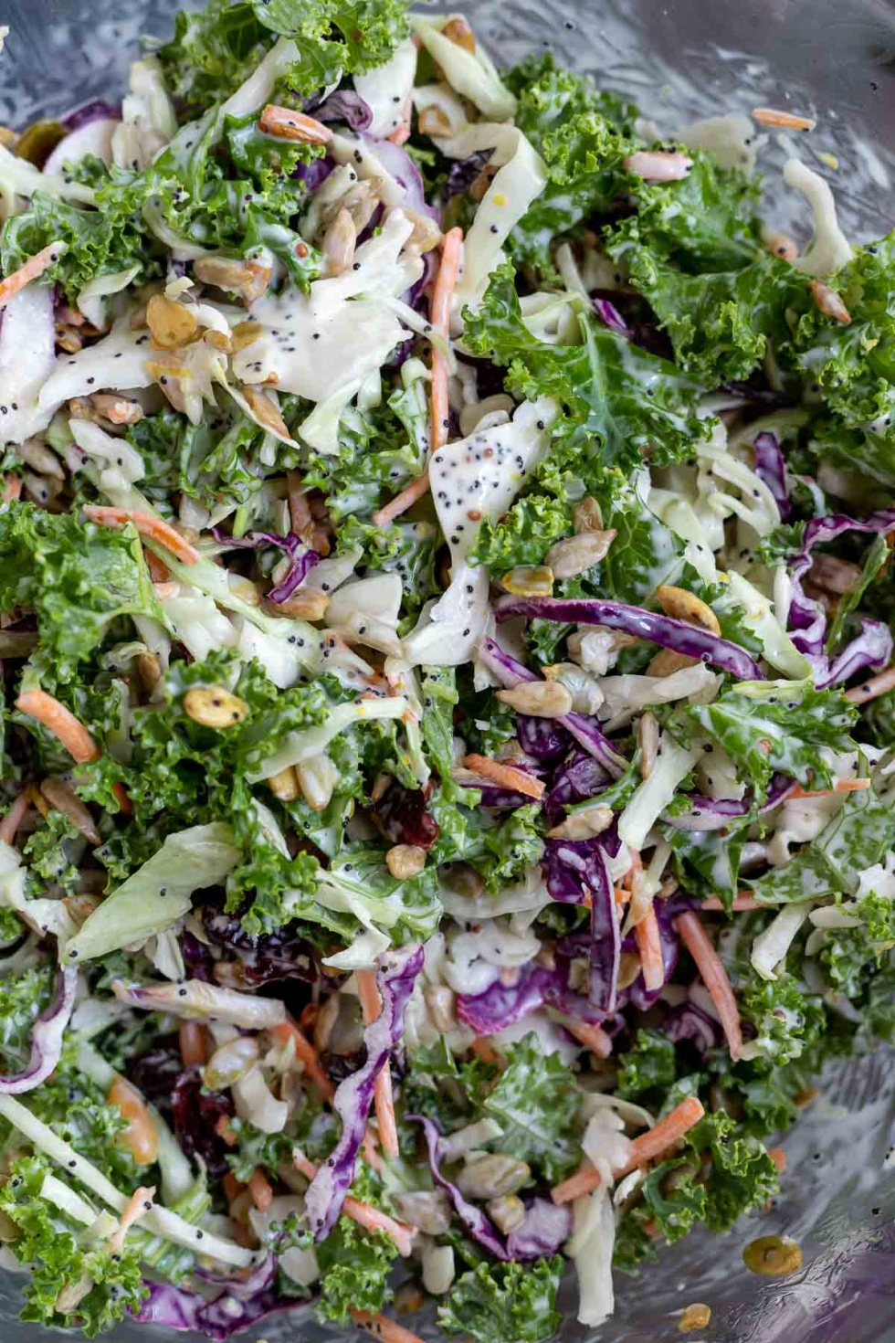 creamy kale and cabbage coleslaw