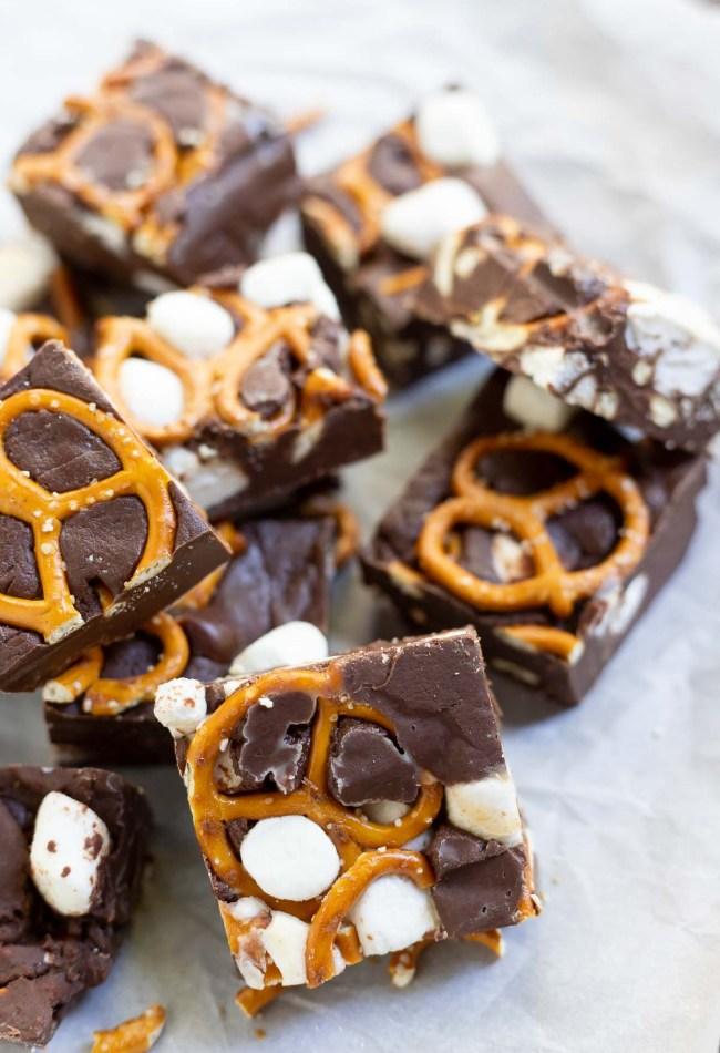 pretzel chocolate fudge cut into squares