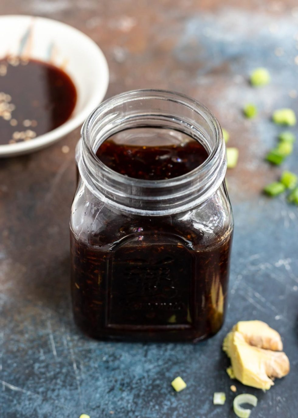 teriyaki sauce in clear glass jar