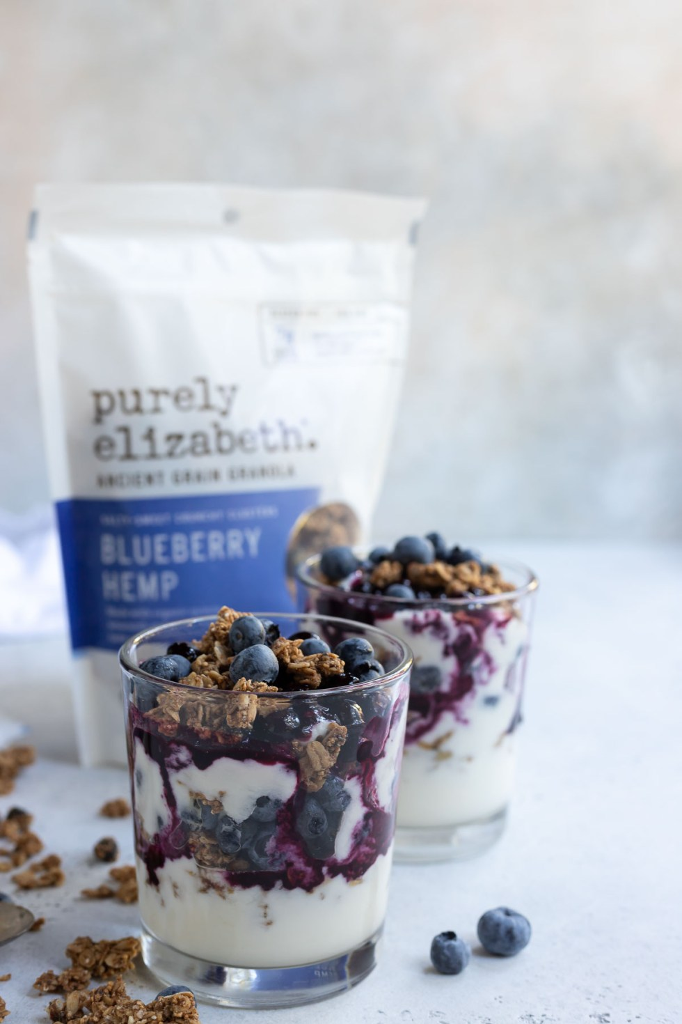 yogurt and blueberry parfaits in clear glasses