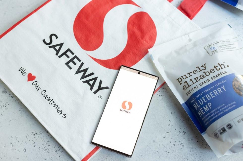 Safeway grocery bag next to bag of granola