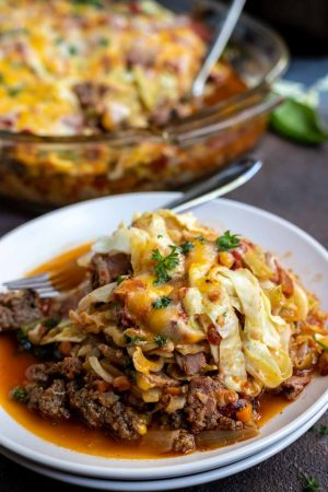 cabbage casserole on white plate