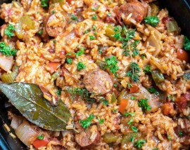 finished jambalaya rice in slow cooker