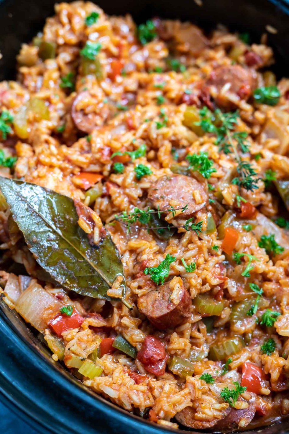 chicken and sausage jambalaya rice in slow cooker
