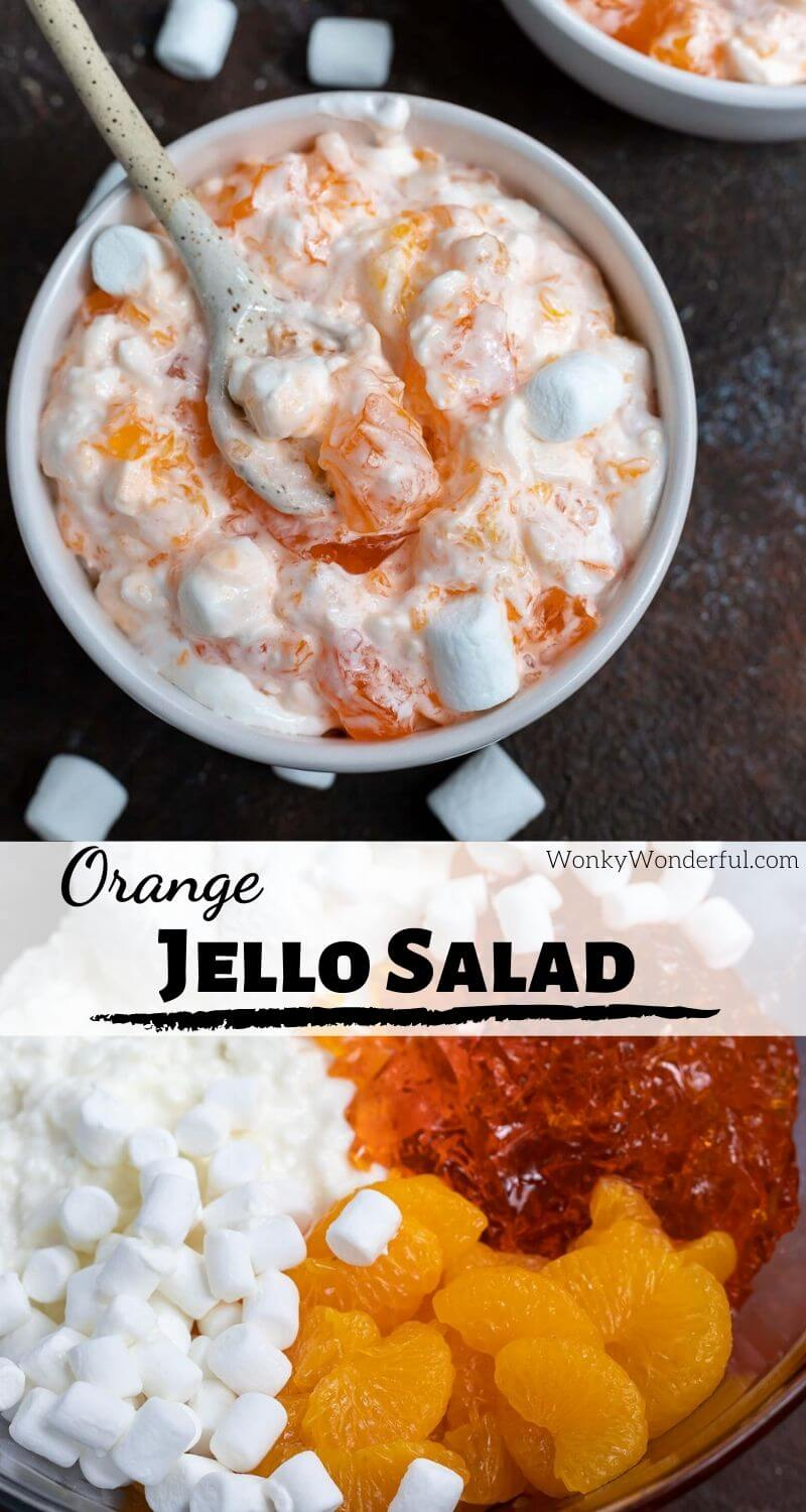 orange jello salad photo collage