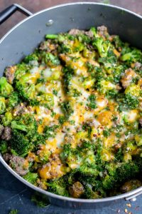 broccoli cheese and beef in pot